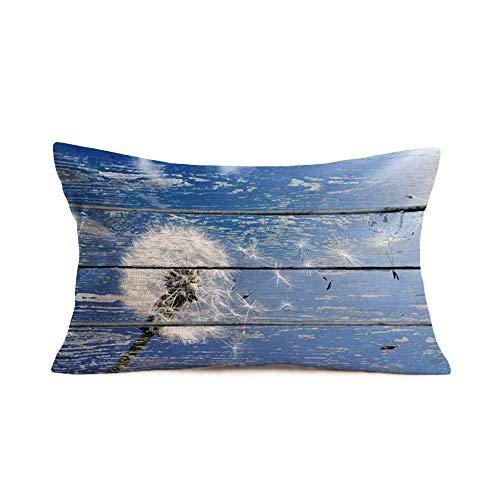 YYUU Funda de almohada de grano de madera vintage con diseño de diente de león volador floral cintura lumbar funda rústica decorativa de lino de algodón funda de almohada rectangular de 50,8 x 76,2 cm