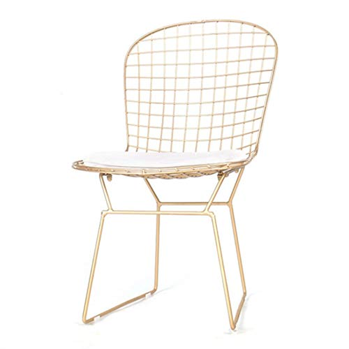 GTD-RISE Taburete Cocina, Bar Europea Sillas Hueco Wire Chair Cafe Milk Tea Shop Silla de Comedor Silla de Oro Estudio de la Silla de salón