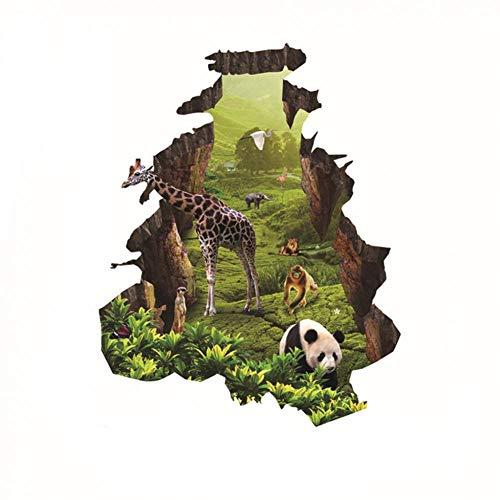 ZXFMT Sticker Mural cassé 3D Cassé Mur Décor Stickers pour Enfants Chambre Auto-Adhésif Enfants Chambre Papier Peint Girafe Panda Affiche Mural Reine Stickers Muraux
