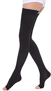 Thigh High 15-20 mmHg Compression Stockings Collection(Open Toe, Footless, Closed Toe)Women Men Edema Varicose Veins