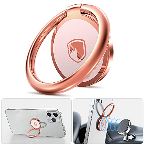 Phone Ring Holder Finger Kickstand - FITFORT 360° Rotation Metal Ring Phone Stand & Grip for...