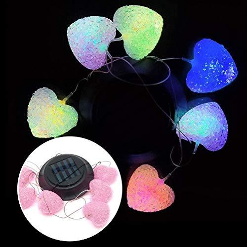 Solar Wind Chimes Lampe, Solarlampe Hummingbirds Libelle Schmetterling Flasche Wind Chimes Deko Licht Weg Pathway-Lampe for Außen Garten (Ball) (Color : Heart)