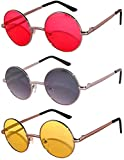 Round Retro Vintage Sunglasses Metal Frame Red Smoke Yellow 3 Pairs OWL