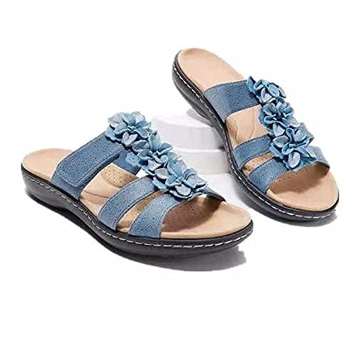 ypyrhh para Hombre Chanclas Slider,Zapatos de Mujer Casual de Gran tamaño, Flores Planas Word Sandalias Zapatillas-Beige_41,Sandalias de Talón Abierto para Mujer