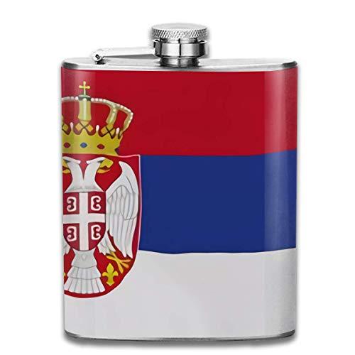 Edelstahlflaschen 7 Unze serbische Wellen-Flaggen-Whiskyflaschen-Flachmann-Leck-Beweis Wein-Mann-Frauen