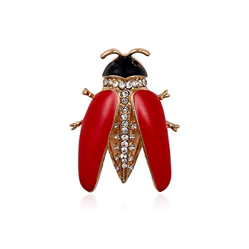 Brooch Red Wing Enameled Insect Beetle Brooch Pins for Women Or Girls