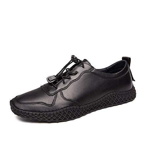 Rongjuyi Skate-gymschoenen voor heren, wandelschoenen, trekkoord, echt leer, stiksel, ronde teen, ademende inlegzool, flexibel, plat, antislip schoenen