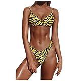 Maillot de Bain Femme 2 Pieces Sexy String Bikini Push Up Maillot de Bain Ados Fille Pas Cher Imprimé Leopard Maillots Deux Pièces Sexy Vague de Imprimer Taille Haute Bikini Summer Beachwear