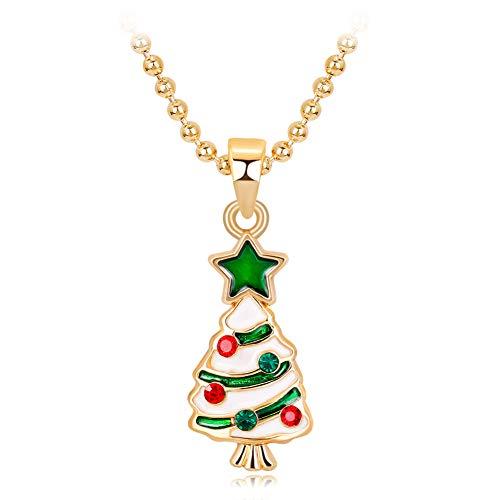 TREESTAR Collana da Donna Albero di Natale Collana di Christmas Elegante Moda Ciondolo Gioielli Jewelry Accessories per Donna Ragazze Bambina Regali Natale Ornamenti di Natale Festival Decorazione