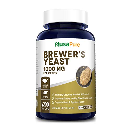 Brewers Yeast 1000mg 200 Vegetarian Caps (Non-GMO & Gluten Free) Supports Heart Health and Digestion