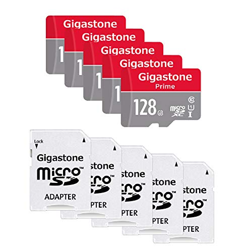 Gigastone 128GB 5-Pack Micro SD Card with Adapter, U1 C10 Class 10, Full HD Available, Micro SDXC UHS-I Memory Card