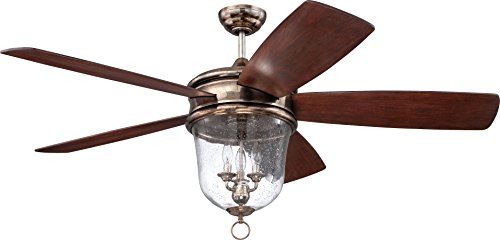 Craftmade FB60TS5 Fredericksburg Outdoor Ceiling Fan with Light and Remote 60 ' for Patio, Tarnished Silver