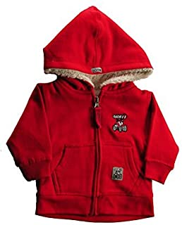 Little Boys Zip-Up Sherpa Hoodie, Red (Small/4)