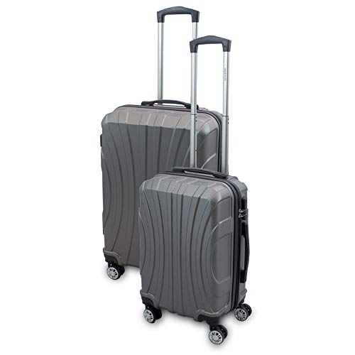 BERWIN® Kofferset M + L 2-teilig Reisekoffer Trolley Hartschalenkoffer ABS Teleskopgriff Modell Strike (Grau)