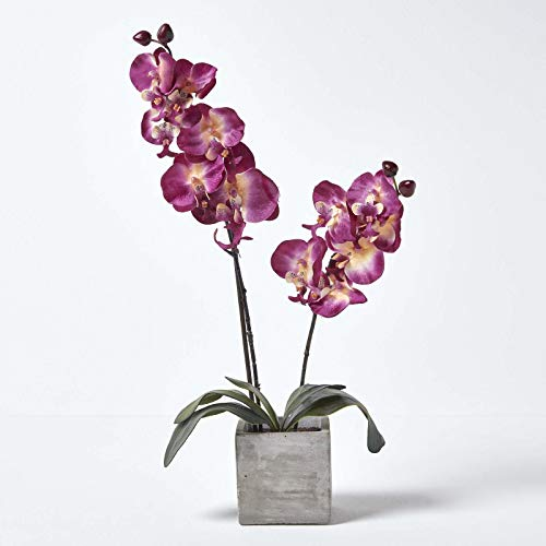 Homescapes Large Burgundy Orchid with Artificial Silk Flowers in Grey Stone Pot, 57cm Tall with Lifelike Petals