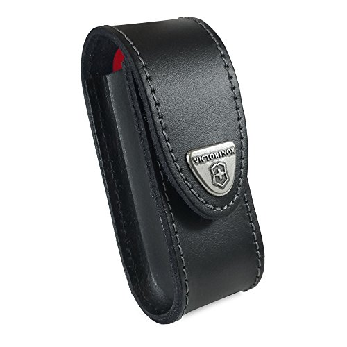 Victorinox Echt Leder Holster Hülle Tasche Für Victornox Swiss Army Pen Knife (2-4 layers) with Hook-and-Loop Fastener - Schwarz