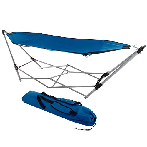 Lavish Home 80-OUTHAM-BLU Portable Hammock with Stand, Blue