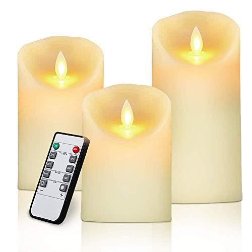 Lot de 3 Bougies LED Flamme Vacillante, Bougie en Cire sans Fumée,...