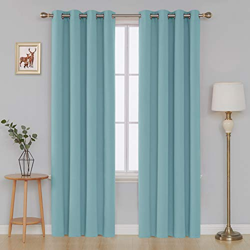 Deconovo Grommet Blackout Curtains Room Darkening Thermal Insulated Curtains for Living Room 52x84 Inch Teal Set of 2 Panels