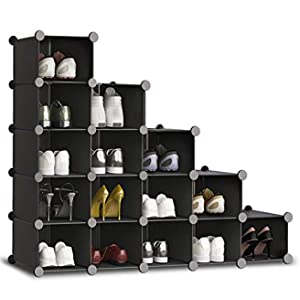 HOMIDEC Shoe Rack, 16 Cube Shoe Storage Cabinet Plastic Shoe Box Organizer for Closet Hallway Bedroom Entryway
