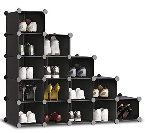 HOMIDEC Schuhregal, 16 Würfel Schuhschrank Kunststoff Schuhkarton Organizer für Schrank Flur Schlafzimmer Eingang(schwarz)