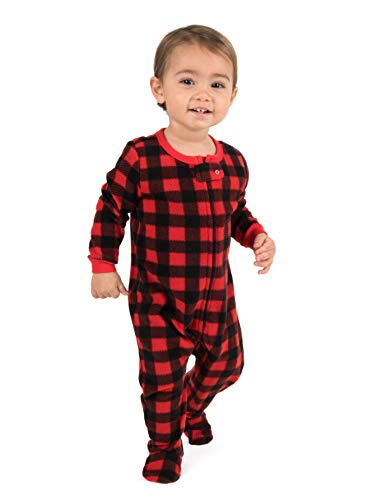 Leveret Kids Pajamas Boys Girls Footed Fleece Sleeper Plaid Red/Black Size 3 Toddler