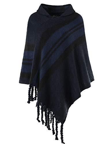 Ferand Damen Gestreifter Warmer Poncho Cape mit Kapuze und Fransen, One Size, Marineblau