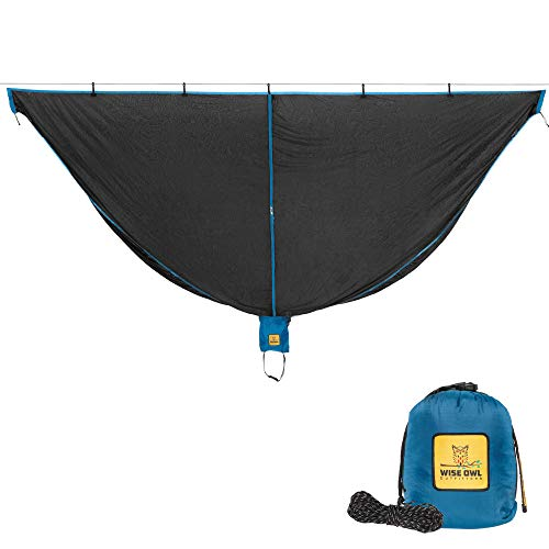 Wise Owl Outfitters Hammock Bug Net - 11 x 4.5 ft SnugNet, Waterproof Camping Hammock Mosquito Netting w/Double Sided Zipper, Essential Camping Gear & Accessories, Blue