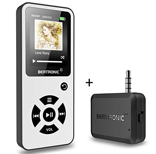BERTRONIC Made in Germany Royal BC01 MP3-Player mit Bluetooth Adapter - Bis 100 Stunden Wiedergabe | Radio | Portabler Player mit Lautsprecher | Audio-Player für Sport mit 16GB Micro-SD Karte