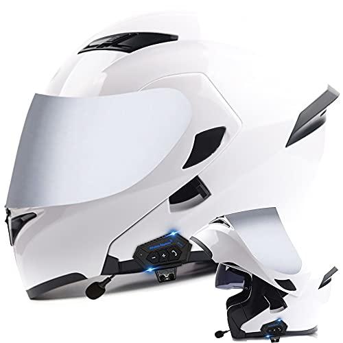 COKECO Bluetooth Integrado Casco De Moto Modular Certificado ECE/Dot con Doble Visera Antivaho Y Cinturón A Prueba De Lluvia Función De Respuesta Automática Adulto Unisex 57~62CM