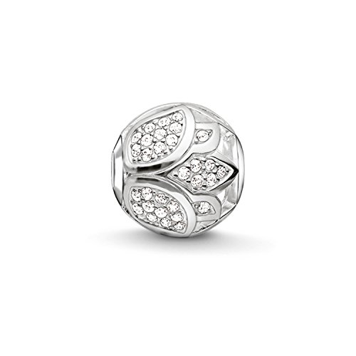 Thomas Sabo Damen-Bead Lotusblüte Karma Beads 925 Sterling Silber Zirkonia weiß K0204-051-14