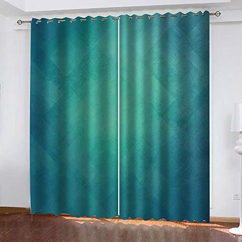 PTBDWOSA Cortina Opaca con Ojales 2 Piezas Cortinas Térmicas Aislantes Moderna Decoración Ventanas para Dormotorio Habitacion Sala Salon 300(W) X280(H) Cm 3D Patrón Azul Simple