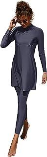 Women Modest Swimsuit Swimwear Conservative Burkini Long Sleeve Beachwear 2 piece Set