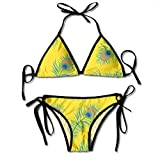 Patrón sin costuras para mujer Peacokc Pluma Traje de baño de dos piezas Swim Women Top Bikini Set Traje de baño