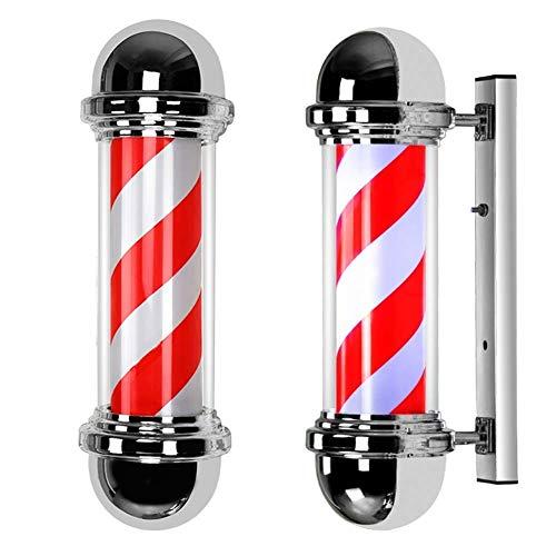 LED Poste de Barbero Rotación e IIluminación Material de Tubo de PC Impermeable al Aire Libre Luces 50cm Rojo Blanco y Azul Rayas,Red,50cm*22cm