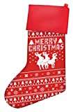 Funny Christmas Stockings Humping Reindeer Threesome Gag Gift Ugly Christmas Sweater Themed Pattern Christmas Stockings for Secret Santa Gifts Christmas Stocking Red