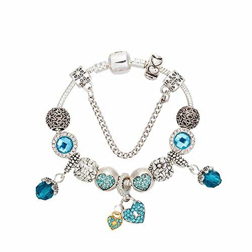 JZHJJ eenvoudige en stijlvolle klassieke paar armband hart-vormige hanger armband oude zilver diamant bedelarmband sieraden mode persoonlijkheid palmarmband vrouwen kleding inclusief: armband