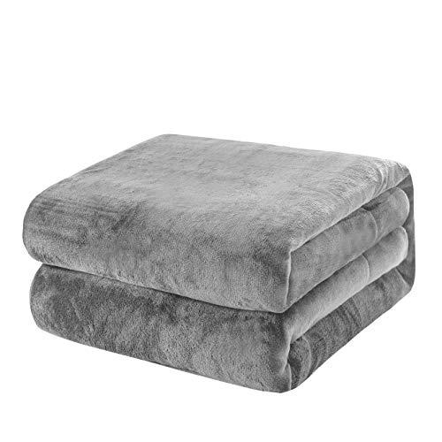 KEPLIN Flanell-Decke, Überwurf, große Tagesdecke (130 x 150 cm), weich, flauschig, warm, Mikrofaser-Stoff-Design, Bettbezug (Silbergrau, Einzelbett)