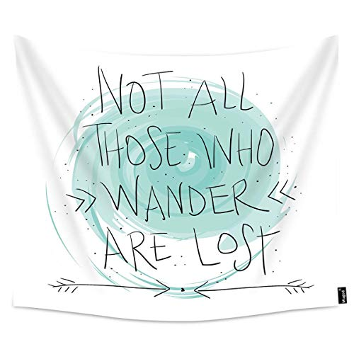 Mugod Quote Tapestry Travel Concept Not All Those Who Wander are Lost Design Home Decor Tapestry Wall Hanging for Bedroom Living Room Dorm, 60WX40H Inches
