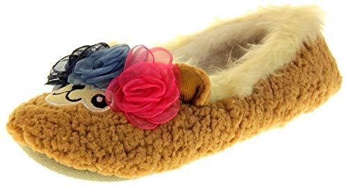 Dunlop Damen Synthetisches Fell Komfort warme Hausschuhe , Lama, 36/37 EU (Herstellergröße: S)