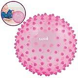 LUDI - Balle sensorielle rose pour l'éveil de bébé. Adaptée aux enfants dès 6 mois. Gros picots tendre faciles à mordiller. Balle de jeu ou de massage. Diamètre : 20 cm - réf. 2795RO