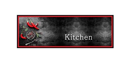 Deko Küchenläufer Küchenmatte Dekoläufer Teppiche Teppich Läufer Matten Teppichläufer Schmutzfangmatte rutschfest für Küche Küchen waschbar waschbarer Küchendeko Modell Spicy Kitchen schwarz rot
