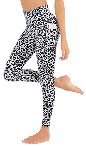 LIFE SKY Leggings estampados para mujer con bolsillos de cintura alta, pantalones de yoga de leopardo suave - negro - Large