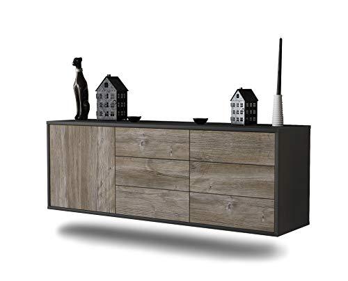 Dekati Lowboard Portland hängend (136x47x35cm) Korpus anthrazit matt | Front Holz-Design Treibholz | Push-to-Open | hochwertige Leichtlaufschienen