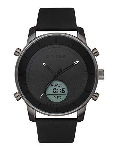 s.Oliver Time Herren Analog-Digital Quarz Uhr mit Leder Armband SO-3620-LD