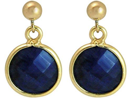 Gemshine - Damen - Ohrringe - 925 Silber - Vergoldet - Saphir - Blau - CANDY - 2 cm