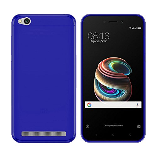 TBOC® Funda de Gel TPU Azul para Xiaomi Redmi 5A (5.0 Pulgadas) de Silicona Ultrafina y Flexible
