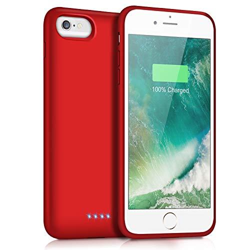 Trswyop Akku Hülle für iPhone 8/7/6/6s/SE 2020,【6000mAh Hohe Kapazität】 Zusatzakku Ladehülle Handyhülle Tragbare Power Bank Akku Battery Case Akkuhülle für iPhone 7/6s/6/8 [4,7 Zoll] - Rot