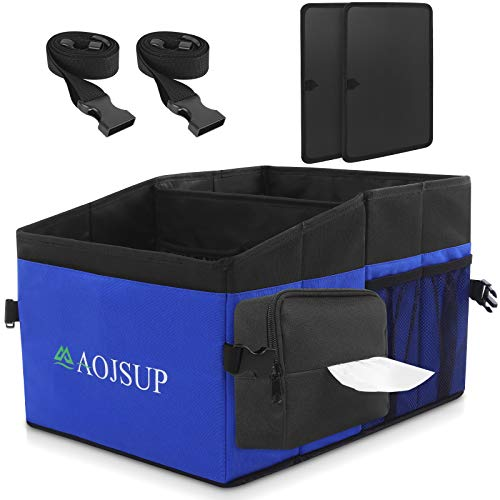 AojSup Auto Organizer, Organizer für Vorder- und Rücksitz, Sitzaufbewahrungstasche für Erwachsene und Kinder, mit Becherhaltern, Tissue Box, Gurtbefestigung