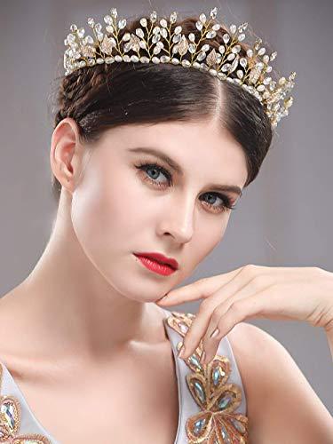 Simsly - Hochzeit, Haar-Ranken, Brautschmuck, Stirnband, Krone, Tiara mit Kristall, Haar-Zubehör für Braut und Brautjungfern, (Gold) FS-185